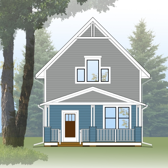 421 Front Elevation - w COLOR